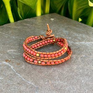 Leather howlite beads boho wrap bracelet